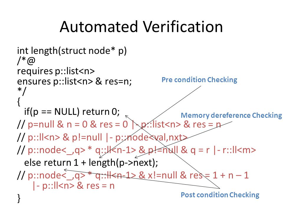 Automated Verification int length(struct node* p) /*@ requires p::list ensures p::list & res=n; */ { if(p == NULL) return 0; // p=null & n = 0 & res = 0 |- p::list & res = n // p::ll & p!=null |- p::node // p::node * q::ll & p!=null & q = r |- r::ll else return 1 + length(p->next); // p::node * q::ll & x!=null & res = 1 + n – 1 |- p::ll & res = n } Pre condition Checking Post condition Checking Memory dereference Checking