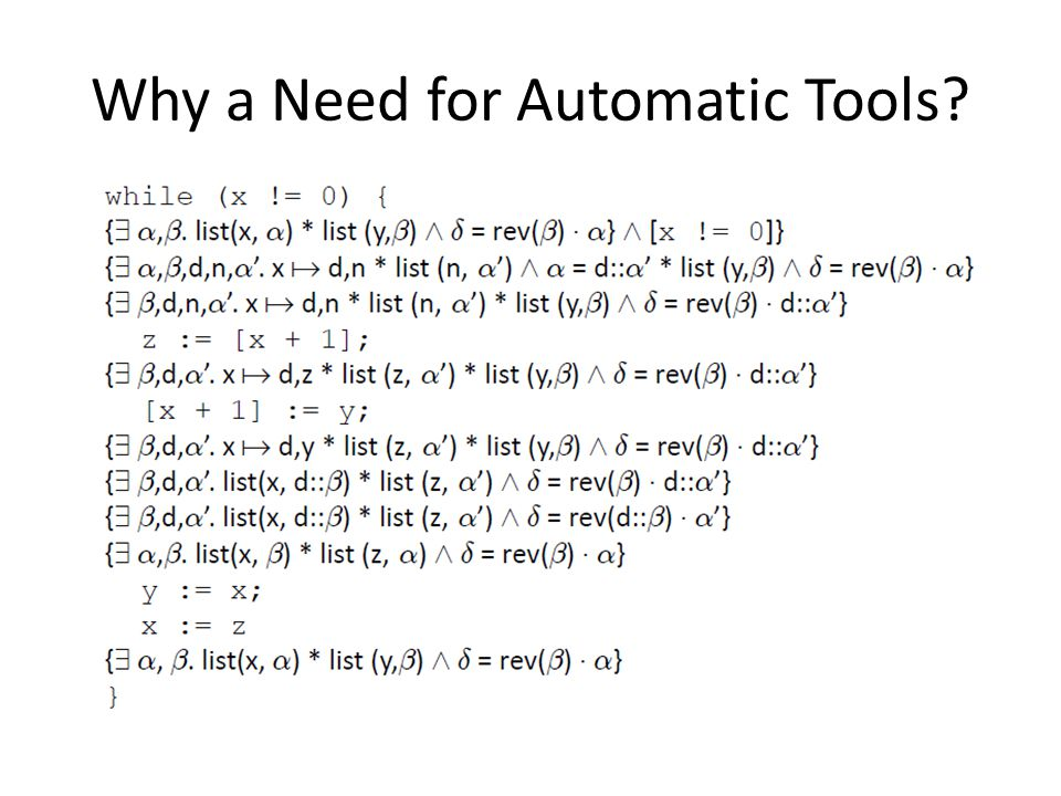 Why a Need for Automatic Tools?