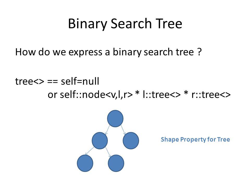 Binary Search Tree How do we express a binary search tree .