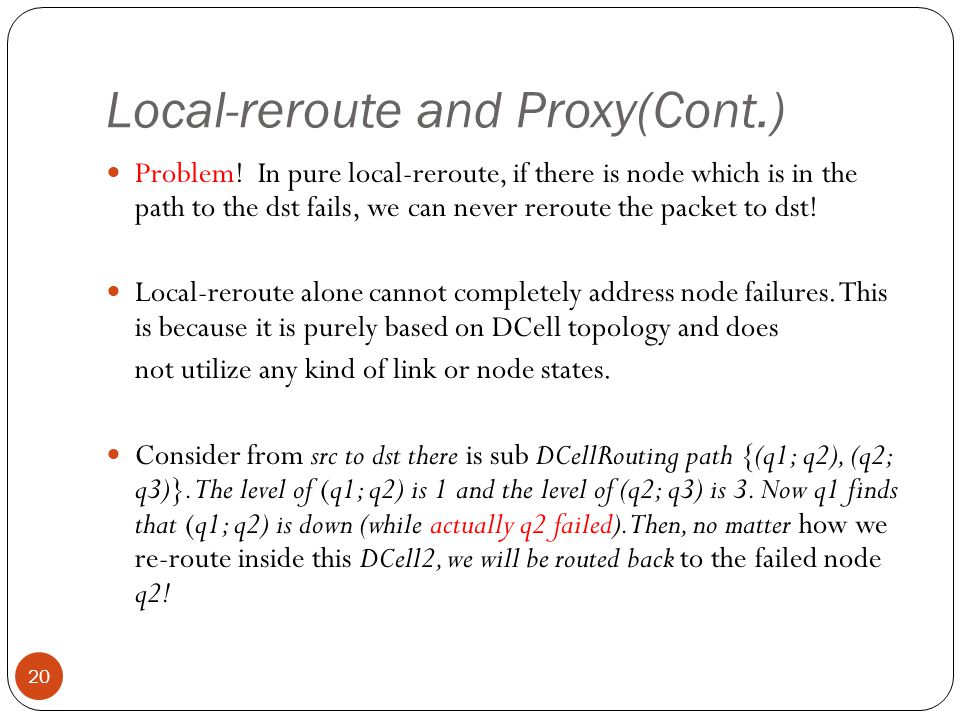 Local-reroute and Proxy(Cont.) 20 Problem.