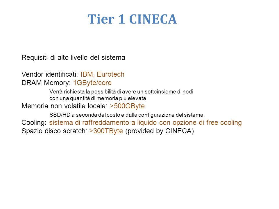 Requisiti di alto livello del sistema Vendor identificati: IBM, Eurotech DRAM Memory: 1GByte/core Verrà richiesta la possibilità di avere un sottoinsieme di nodi con una quantità di memoria più elevata Memoria non volatile locale: >500GByte SSD/HD a seconda del costo e dalla configurazione del sistema Cooling: sistema di raffreddamento a liquido con opzione di free cooling Spazio disco scratch: >300TByte (provided by CINECA) Tier 1 CINECA