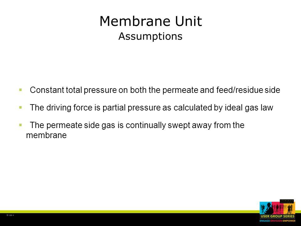 Slide 5 Membrane Unit where: R i = Flowrate in std.