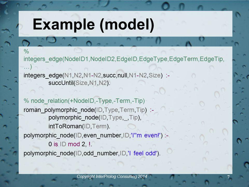 Example (model) % integers_edge(NodeID1,NodeID2,EdgeID,EdgeType,EdgeTerm,EdgeTip, …) integers_edge(N1,N2,N1-N2,succ,null,N1-N2,Size) :- succUntil(Size,N1,N2).