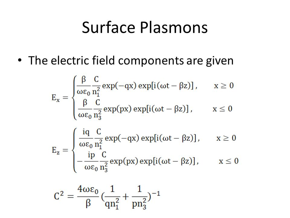 Surface Plasmons The electric field components are given