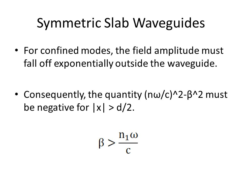 Symmetric Slab Waveguides For confined modes, the field amplitude must fall off exponentially outside the waveguide.