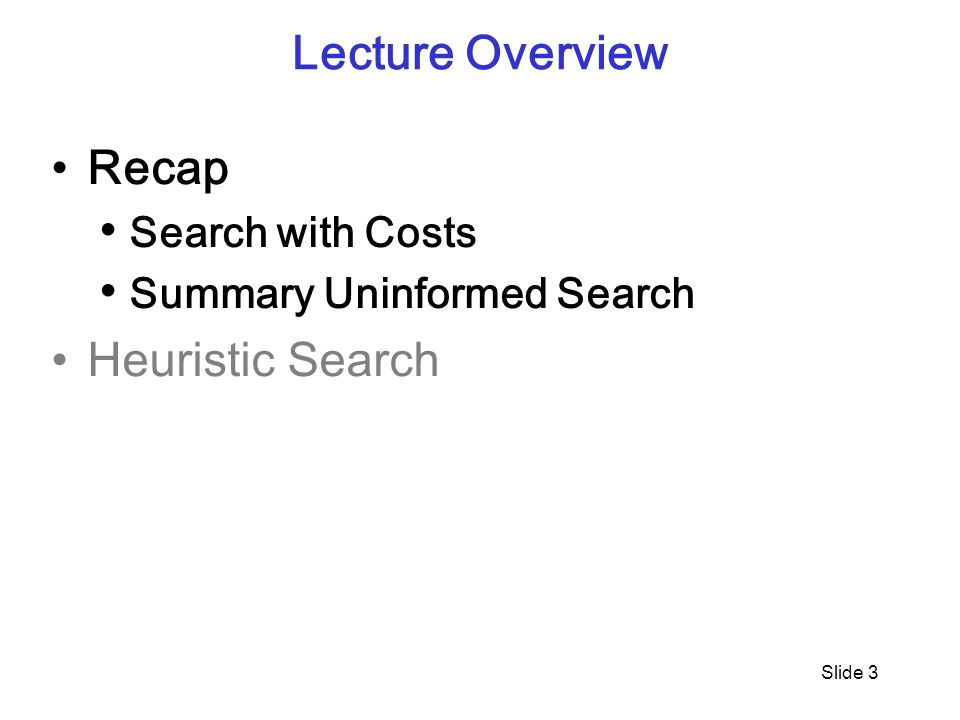 Slide 3 Lecture Overview Recap Search with Costs Summary Uninformed Search Heuristic Search