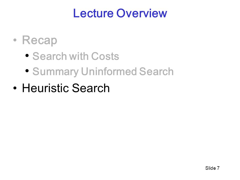 Slide 7 Lecture Overview Recap Search with Costs Summary Uninformed Search Heuristic Search