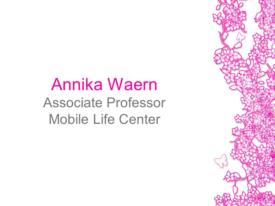Annika Waern Associate Professor Mobile Life Center