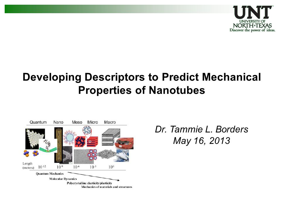 12 CNT surfaces – descriptors DescriptorsDefinition Theoretical Radius (Å)Theoretical radius of perfect nanotube % Methyl GroupsPercentage of surface functionalized methyl groups # Missing C's (C M )Number of missing due to a vacancy defect # Methyl Groups (M N )Number of methyl functional groups M N / C T Ratio of methyl groups to total number of carbons C M / C T Ratio of missing carbons to total number of carbons # Single DefectsNumber of single defect types # Non-sp 2 C's (C N2 )Number of non-sp 2 hybridized carbons C N2 / C T Ratio of non-sp 2 hybridized carbons to total number of carbons Surface Area (S P )Total surface area of nanotube (uses average radius) Defect Surface Area (S D )Surface area of defects S D / S P Ratio of defect area to total surface area Chiral AngleChiral angle Started with ~20 Descriptors, Massaged & Down-selected to 2 & 3