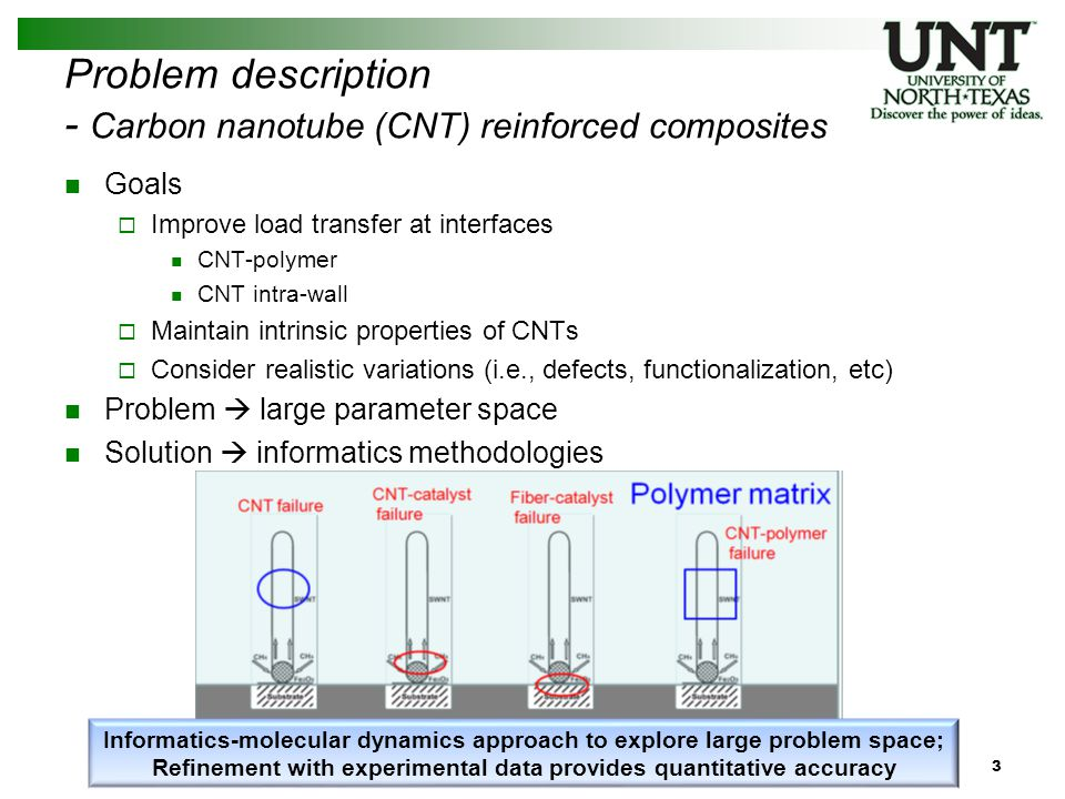 4 Problem description - Carbon nanotube (CNT) reinforced composites (1) Goals  Improve load transfer at interfaces CNT-polymer CNT intra-wall  Maintain intrinsic properties of CNTs  Consider realistic variations (i.e., defects, functionalization, etc) Problem  large parameter space Solution  informatics methodologies Informatics-molecular dynamics approach to explore large problem space; Refinement with experimental data provides quantitative accuracy 1) Surface morphology – stiffness / strength 2) Intra-wall bonding – load transfer