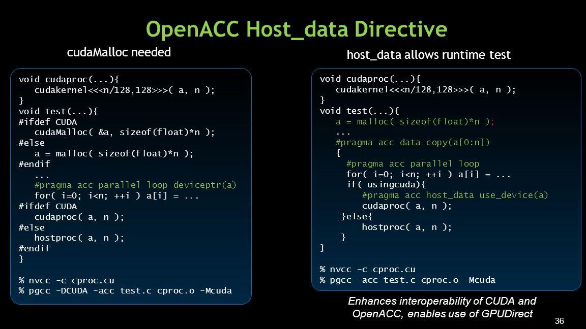 36 OpenACC Host_data Directive void cudaproc(...){ cudakernel >>( a, n ); } void test(...){ #ifdef CUDA cudaMalloc( &a, sizeof(float)*n ); #else a = malloc( sizeof(float)*n ); #endif...