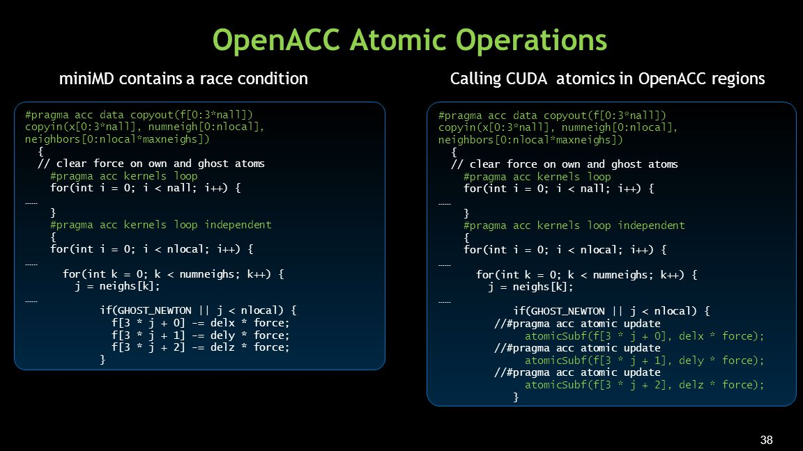 38 OpenACC Atomic Operations #pragma acc data copyout(f[0:3*nall]) copyin(x[0:3*nall], numneigh[0:nlocal], neighbors[0:nlocal*maxneighs]) { // clear force on own and ghost atoms #pragma acc kernels loop for(int i = 0; i < nall; i++) { …… } #pragma acc kernels loop independent { for(int i = 0; i < nlocal; i++) { …… for(int k = 0; k < numneighs; k++) { j = neighs[k]; …… if(GHOST_NEWTON || j < nlocal) { f[3 * j + 0] -= delx * force; f[3 * j + 1] -= dely * force; f[3 * j + 2] -= delz * force; } #pragma acc data copyout(f[0:3*nall]) copyin(x[0:3*nall], numneigh[0:nlocal], neighbors[0:nlocal*maxneighs]) { // clear force on own and ghost atoms #pragma acc kernels loop for(int i = 0; i < nall; i++) { …… } #pragma acc kernels loop independent { for(int i = 0; i < nlocal; i++) { …… for(int k = 0; k < numneighs; k++) { j = neighs[k]; …… if(GHOST_NEWTON || j < nlocal) { //#pragma acc atomic update atomicSubf(f[3 * j + 0], delx * force); //#pragma acc atomic update atomicSubf(f[3 * j + 1], dely * force); //#pragma acc atomic update atomicSubf(f[3 * j + 2], delz * force); } miniMD contains a race conditionCalling CUDA atomics in OpenACC regions