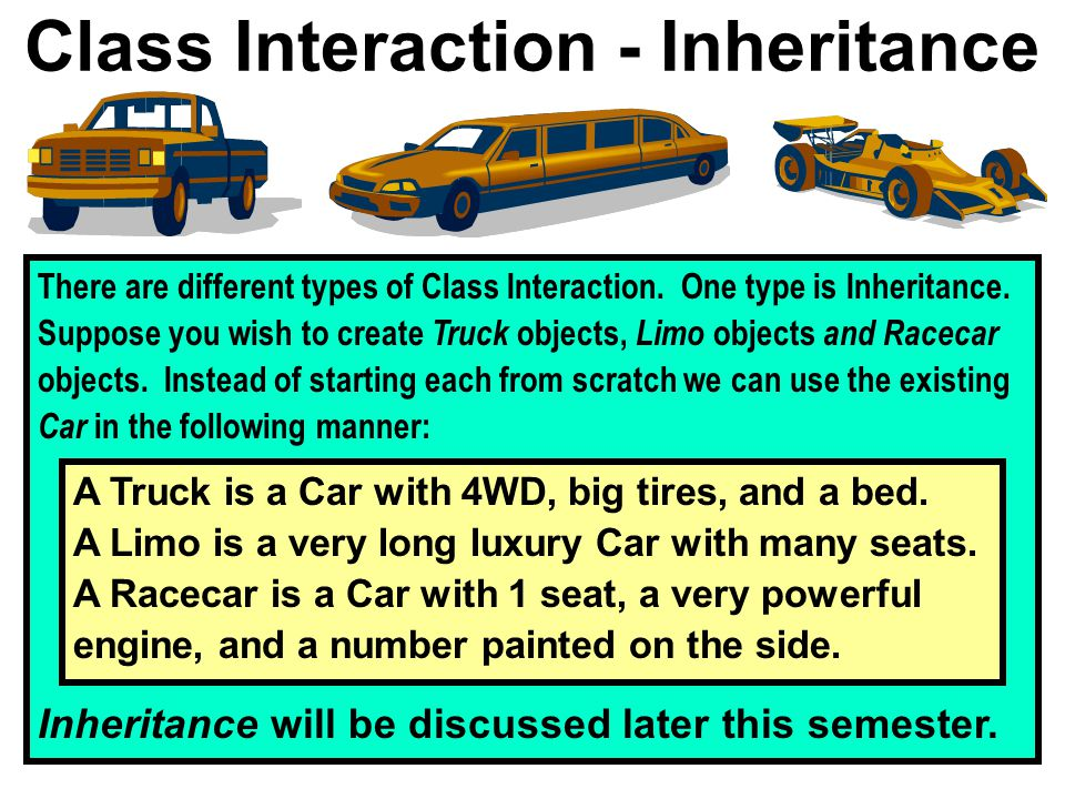Class Interaction - Inheritance There are different types of Class Interaction.