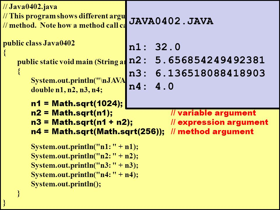 // Java0402.java // This program shows different arguments that can be used with the // method.