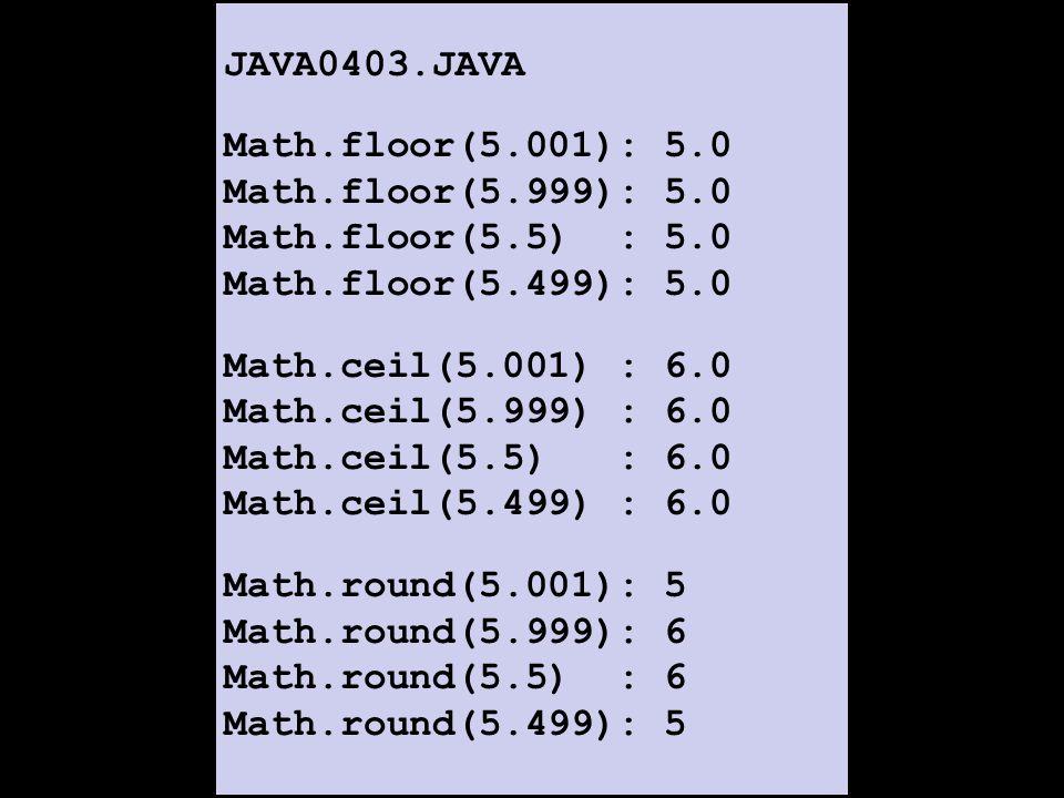 JAVA0403.JAVA Math.floor(5.001): 5.0 Math.floor(5.999): 5.0 Math.floor(5.5) : 5.0 Math.floor(5.499): 5.0 Math.ceil(5.001) : 6.0 Math.ceil(5.999) : 6.0 Math.ceil(5.5) : 6.0 Math.ceil(5.499) : 6.0 Math.round(5.001): 5 Math.round(5.999): 6 Math.round(5.5) : 6 Math.round(5.499): 5