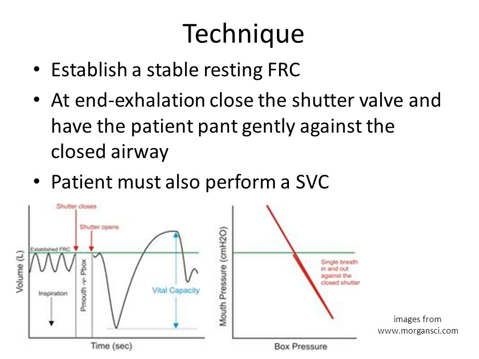 Technique Establish a stable resting FRC At end-exhalation close the shutter valve and have the patient pant gently against the closed airway Patient must also perform a SVC images from www.morgansci.com