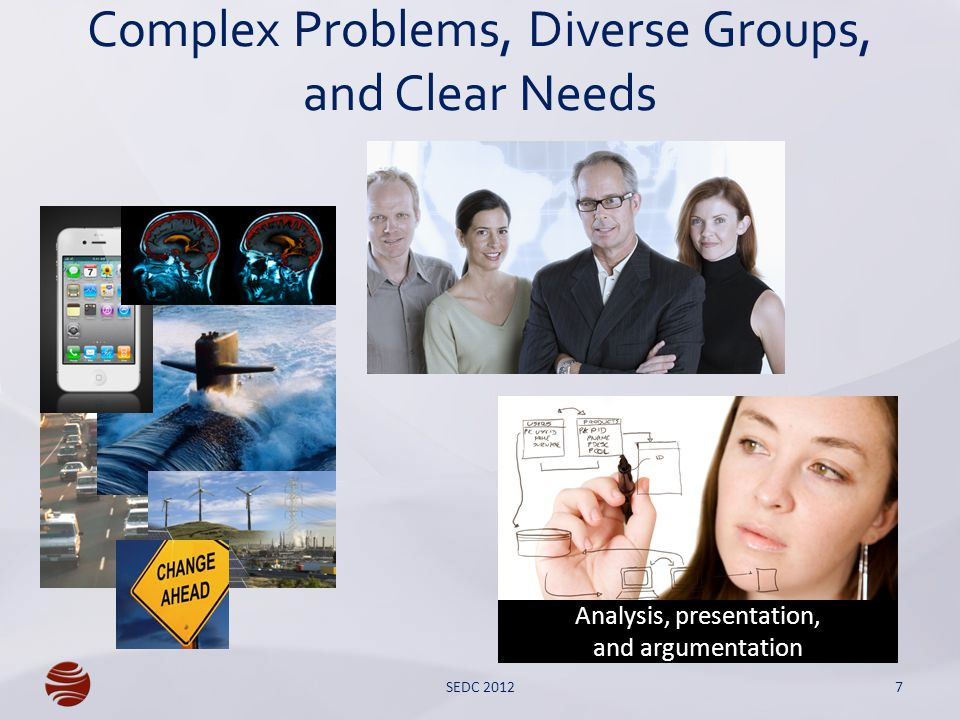 Complex Problems, Diverse Groups, and Clear Needs 7 Analysis, presentation, and argumentation SEDC 2012