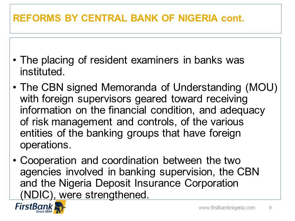 BANKS IN NIGERIA www.firstbanknigeria.com 10 NOOPERATING BANKSBANK ACQUIRED 1Access BankIntercontinental Bank 2EcobankOceanic Bank 3First City Monument BankFinBank 4Sterling BankEquitorial Bank OPERATING BANKS THAT CHANGED NAMESFORMER NAME 5Enterprise Bank LimitedSPRING BANK 6Keystone Bank LimitedBank PHB 7Mainstreet Bank LimitedAFRIBANK NOOTHER BANKS 8Citibank 9Diamond Bank 10Fidelity Bank Nigeria 11First Bank of Nigeria