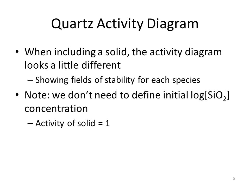 Quartz Activity Diagram When including a solid, the activity diagram looks a little different – Showing fields of stability for each species Note: we don't need to define initial log[SiO 2 ] concentration – Activity of solid = 1 5