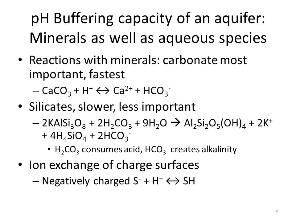 pH Buffering capacity of an aquifer: Minerals as well as aqueous species Reactions with minerals: carbonate most important, fastest – CaCO 3 + H + ↔ Ca 2+ + HCO 3 - Silicates, slower, less important – 2KAlSi 3 O 8 + 2H 2 CO 3 + 9H 2 O  Al 2 Si 2 O 5 (OH) 4 + 2K + + 4H 4 SiO 4 + 2HCO 3 - H 2 CO 3 consumes acid, HCO 3 - creates alkalinity Ion exchange of charge surfaces – Negatively charged S - + H + ↔ SH 9