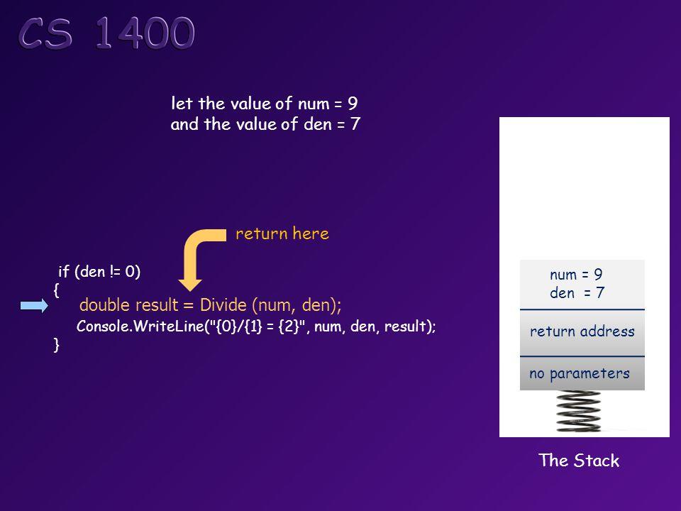 let the value of num = 9 and the value of den = 7 double result = Divide (num, den); if (den != 0) { Console.WriteLine( {0}/{1} = {2} , num, den, result); } The Stack return address no parameters num = 9 den = 7 return here