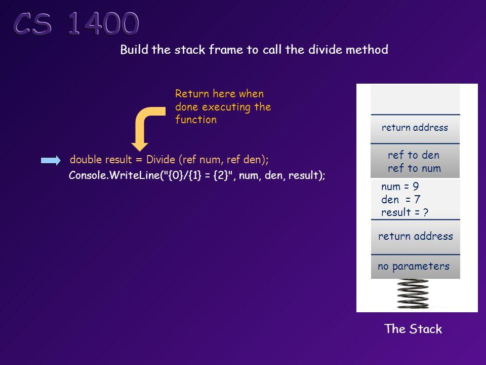 double result = Divide (ref num, ref den); Console.WriteLine( {0}/{1} = {2} , num, den, result); The Stack return address no parameters num = 9 den = 7 result = .