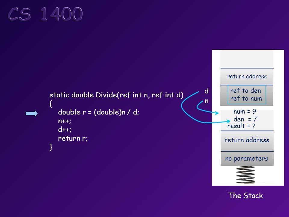 The Stack return address no parameters num = 9 den = 7 return address ref to den ref to num result = .