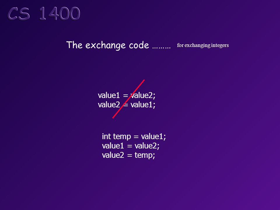 The exchange code ……… for exchanging integers value1 = value2; value2 = value1; int temp = value1; value1 = value2; value2 = temp;