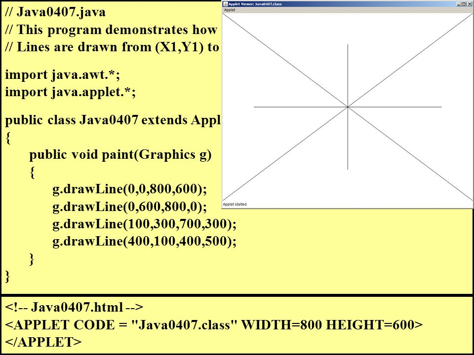 // Java0407.java // This program demonstrates how to draw lines. // Lines are drawn from (X1,Y1) to (X2,Y2) with drawLine(X1,Y1,X2,Y2). import java.aw