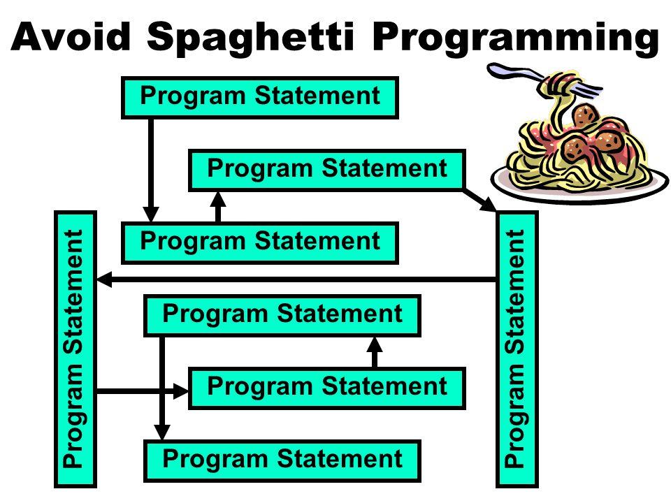 Program Statement Avoid Spaghetti Programming Program Statement