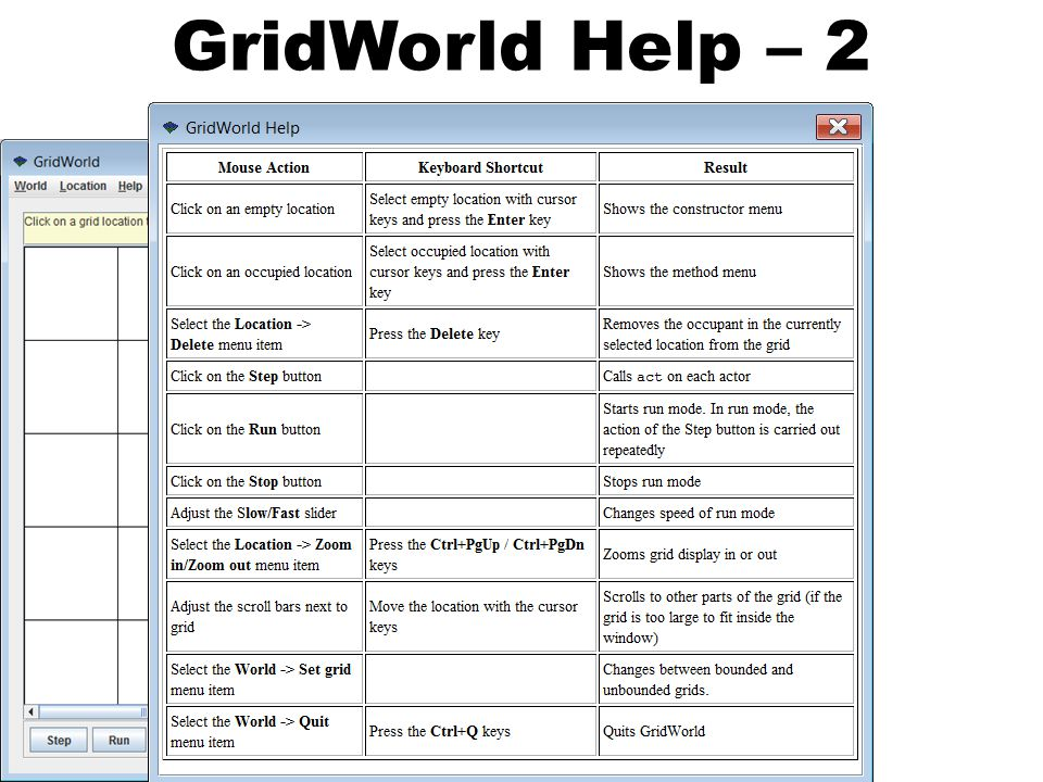 GridWorld Help – 2