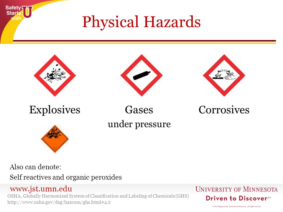 www.jst.umn.edu Physical Hazards OSHA, Globally Harmonized System of Classification and Labeling of Chemicals (GHS) http://www.osha.gov/dsg/hazcom/ghs