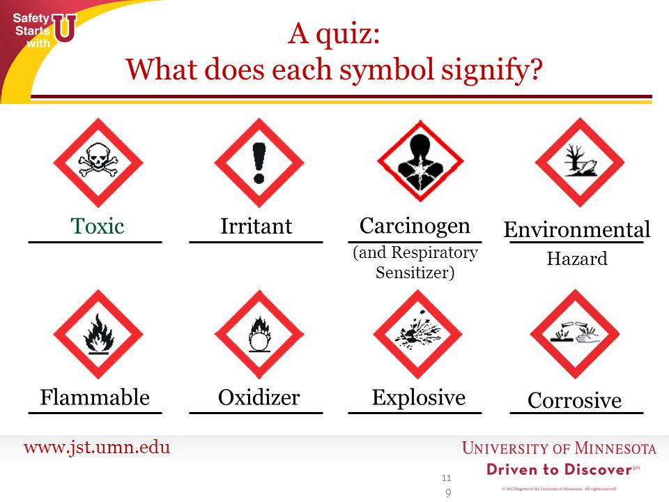 www.jst.umn.edu A quiz: What does each symbol signify? 119 Toxic FlammableOxidizerExplosive Corrosive Irritant Carcinogen (and Respiratory Sensitizer)