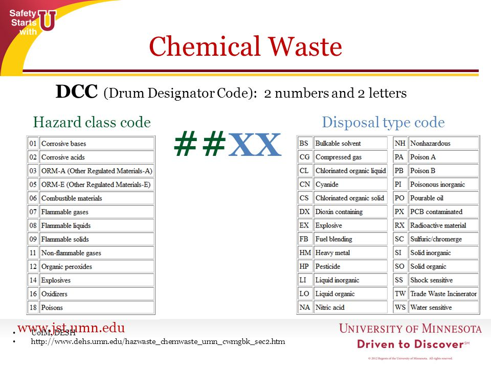 www.jst.umn.edu Chemical Waste DCC (Drum Designator Code): 2 numbers and 2 letters UofM, DESH http://www.dehs.umn.edu/hazwaste_chemwaste_umn_cwmgbk_se