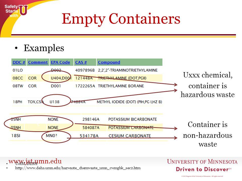 www.jst.umn.edu Empty Containers Examples UofM, DESH http://www.dehs.umn.edu/hazwaste_chemwaste_umn_cwmgbk_sec2.htm Uxxx chemical, container is hazard