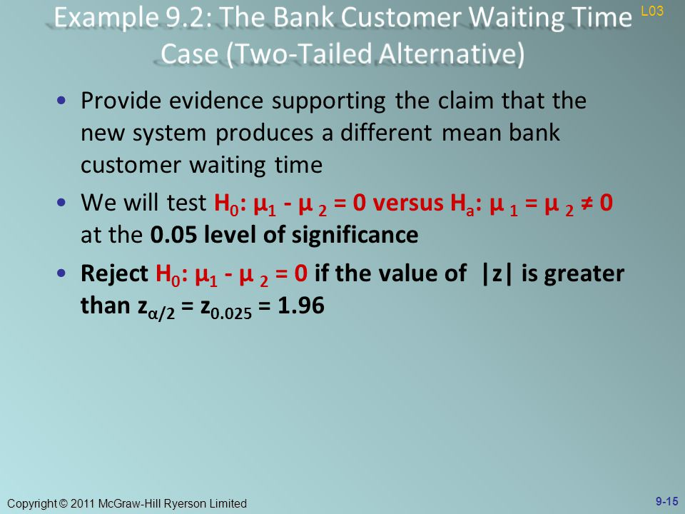 Copyright © 2011 McGraw-Hill Ryerson Limited Provide evidence supporting the claim that the new system produces a different mean bank customer waiting time We will test H 0 : μ 1 - μ 2 = 0 versus H a : μ 1 = μ 2 ≠ 0 at the 0.05 level of significance Reject H 0 : μ 1 - μ 2 = 0 if the value of |z| is greater than z α/2 = z = L03