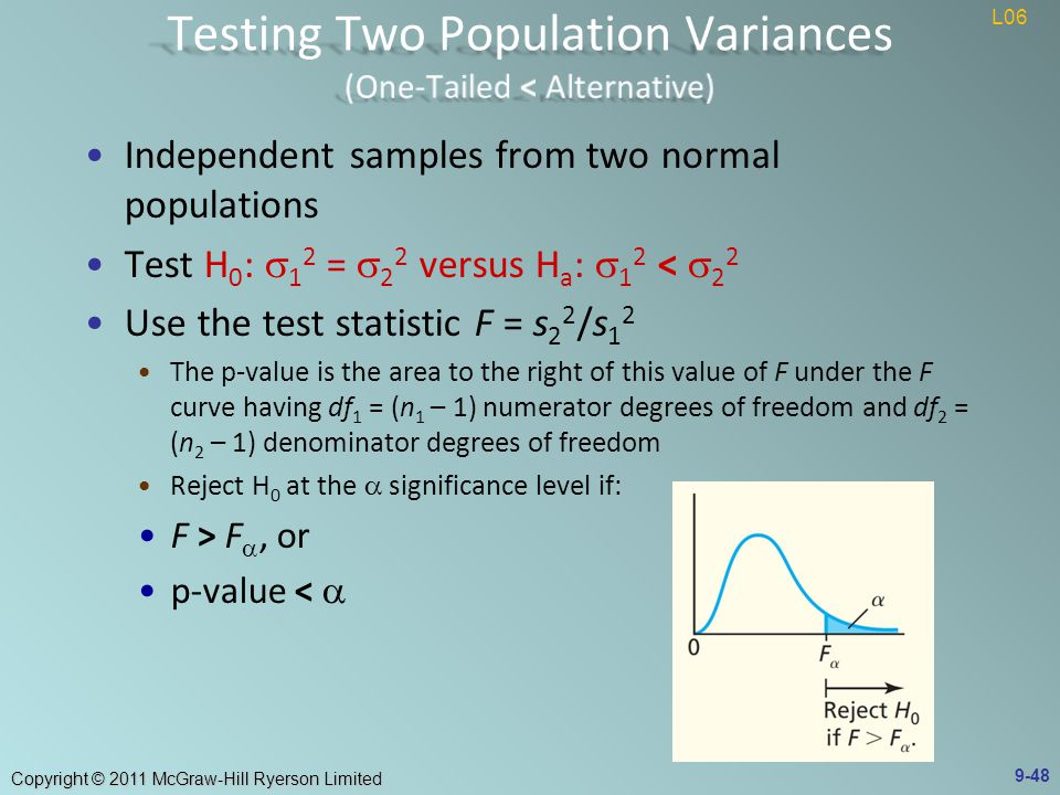 Copyright © 2011 McGraw-Hill Ryerson Limited Independent samples from two normal populations Test H 0 :  1 2 =  2 2 versus H a :  1 2 <  2 2 Use the test statistic F = s 2 2 /s 1 2 The p-value is the area to the right of this value of F under the F curve having df 1 = (n 1 – 1) numerator degrees of freedom and df 2 = (n 2 – 1) denominator degrees of freedom Reject H 0 at the  significance level if: F > F , or p-value <  9-48 L06