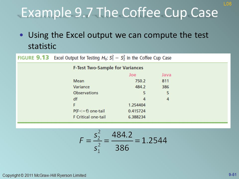 Copyright © 2011 McGraw-Hill Ryerson Limited Using the Excel output we can compute the test statistic 9-51 L06
