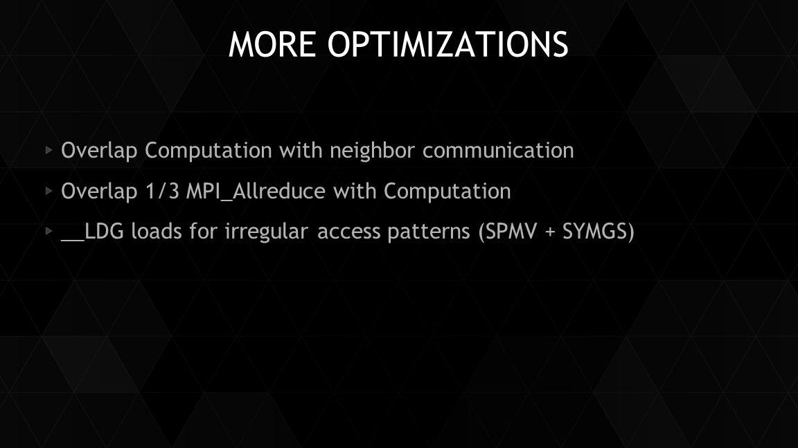 MORE OPTIMIZATIONS Overlap Computation with neighbor communication Overlap 1/3 MPI_Allreduce with Computation __LDG loads for irregular access pattern