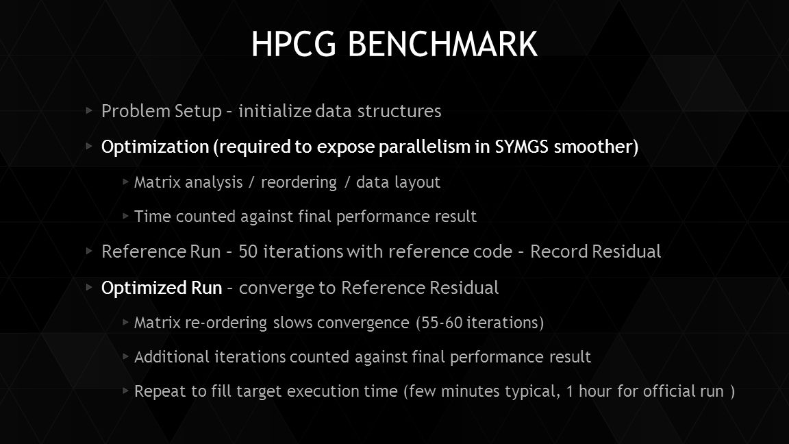HPCG BENCHMARK Problem Setup – initialize data structures Optimization (required to expose parallelism in SYMGS smoother) Matrix analysis / reordering