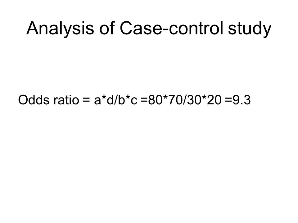 Analysis of Case-control study Odds ratio = a*d/b*c =80*70/30*20 =9.3