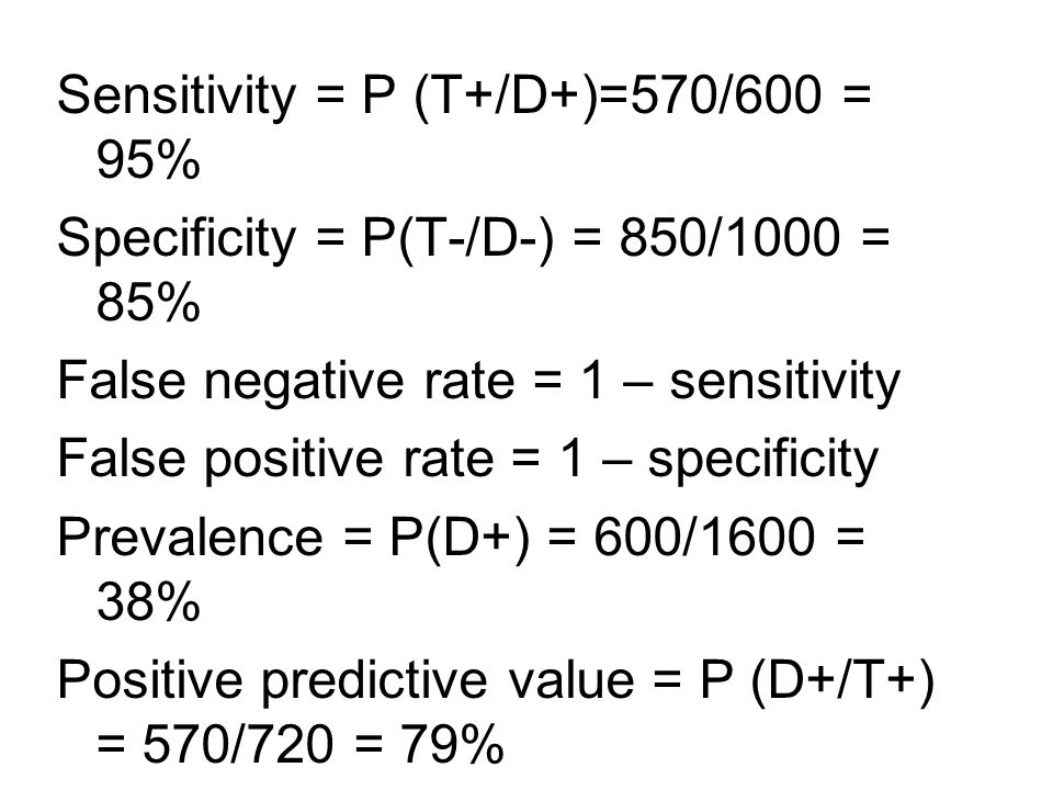 Sensitivity = P (T+/D+)=570/600 = 95% Specificity = P(T-/D-) = 850/1000 = 85% False negative rate = 1 – sensitivity False positive rate = 1 – specificity Prevalence = P(D+) = 600/1600 = 38% Positive predictive value = P (D+/T+) = 570/720 = 79%