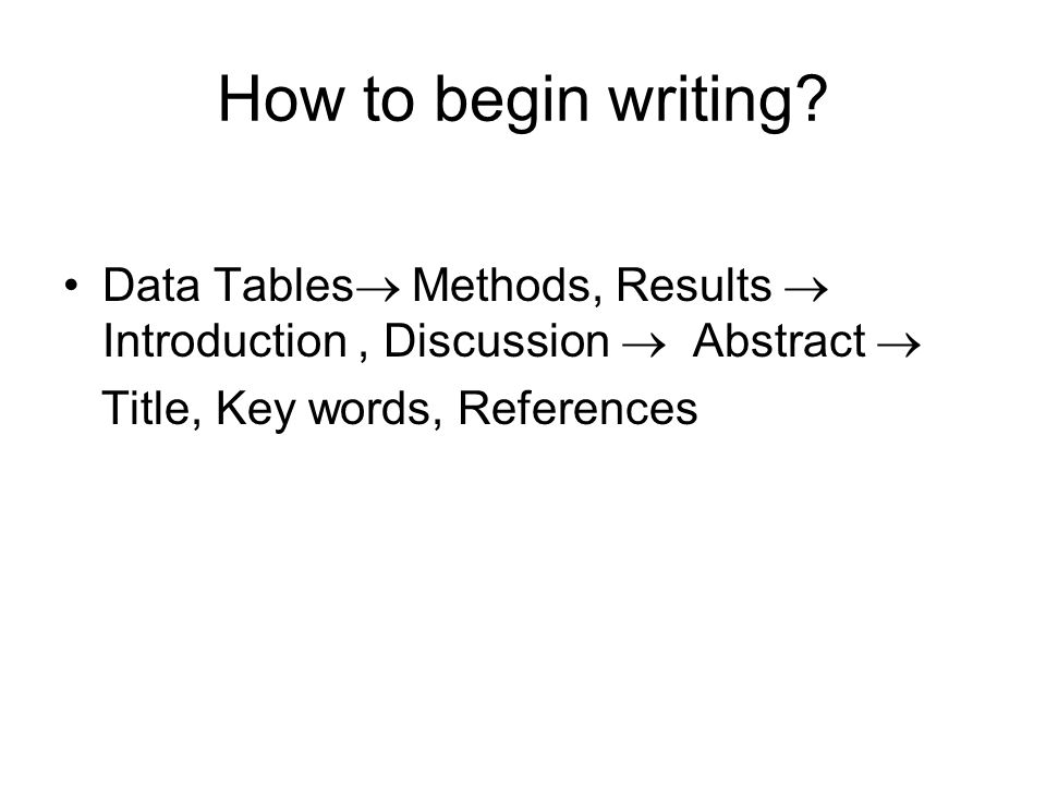 How to begin writing.