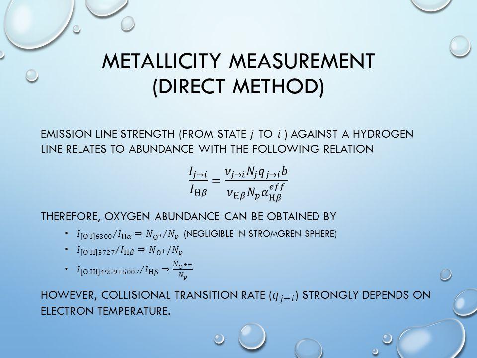 METALLICITY MEASUREMENT (DIRECT METHOD)