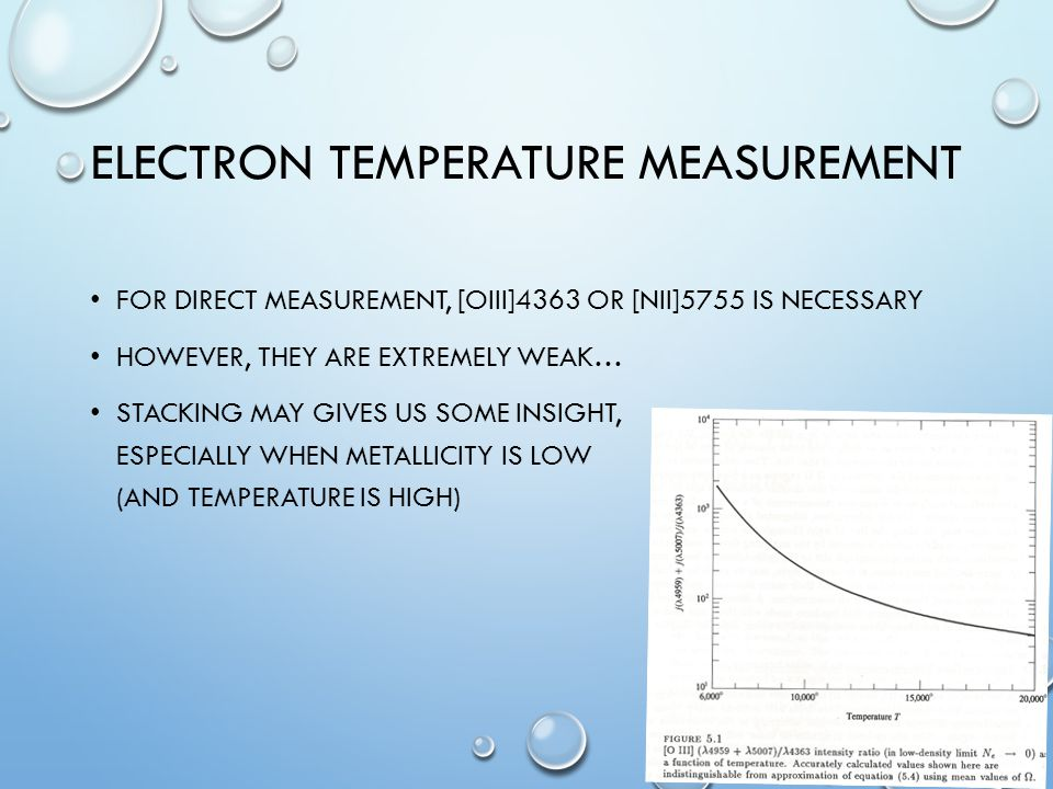 ELECTRON TEMPERATURE MEASUREMENT FOR DIRECT MEASUREMENT, [OIII]4363 OR [NII]5755 IS NECESSARY HOWEVER, THEY ARE EXTREMELY WEAK… STACKING MAY GIVES US SOME INSIGHT, ESPECIALLY WHEN METALLICITY IS LOW (AND TEMPERATURE IS HIGH)