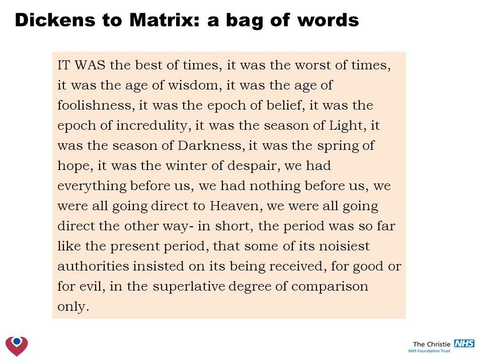 Dickens to Matrix: a matrix Documents Words #Example matrix syntax A = matrix(c(1, rep(0,6), 2), nrow = 4) library(slam) S = simple_triplet_matrix(c(1, 4), c(1, 2), c(1, 2)) library(Matrix) M = sparseMatrix(i = c(1, 4), j = c(1, 2), x = c(1, 2))