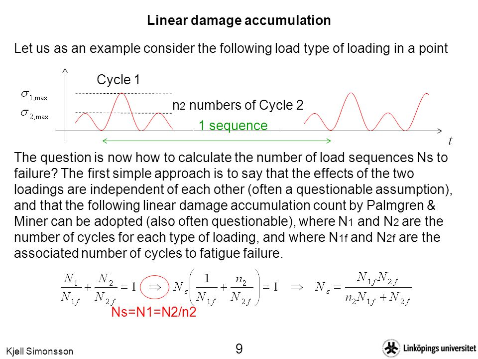 Kjell Simonsson 9 Linear damage accumulation Let us as an example consider the following load type of loading in a point Cycle 1 The question is now h