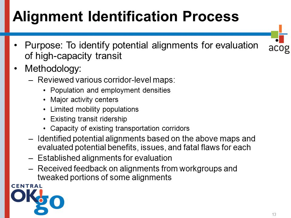 13 Alignment Identification Process Purpose: To identify potential alignments for evaluation of high-capacity transit Methodology: –Reviewed various corridor-level maps: Population and employment densities Major activity centers Limited mobility populations Existing transit ridership Capacity of existing transportation corridors –Identified potential alignments based on the above maps and evaluated potential benefits, issues, and fatal flaws for each –Established alignments for evaluation –Received feedback on alignments from workgroups and tweaked portions of some alignments