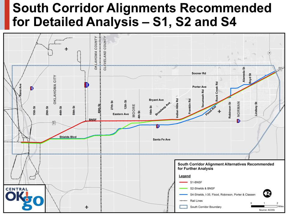17 South Corridor Alignments Recommended for Detailed Analysis – S1, S2 and S4