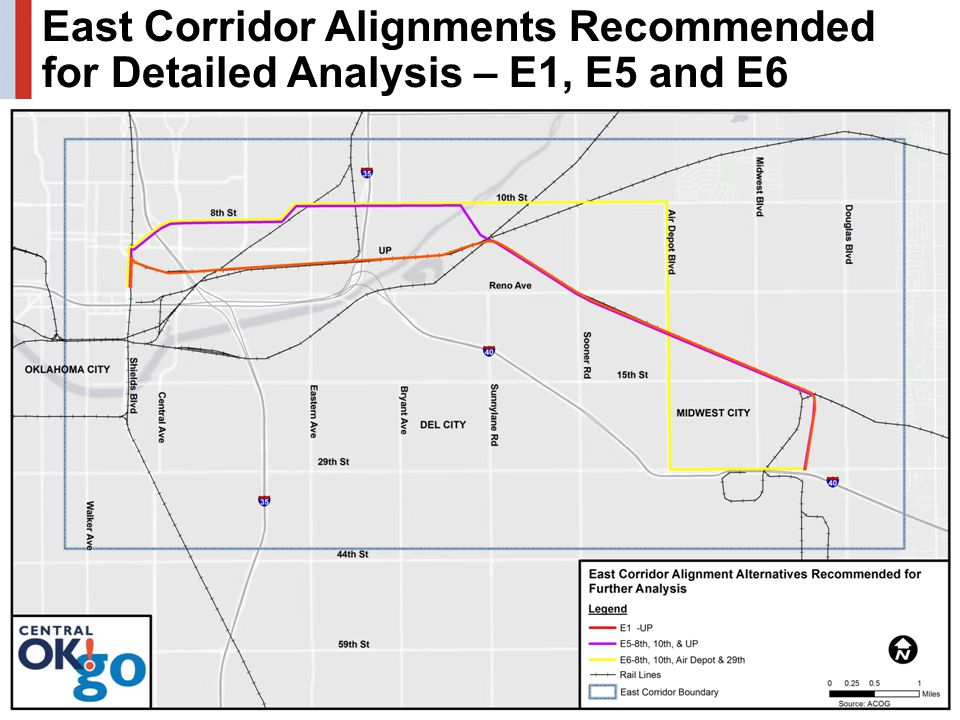 21 East Corridor Alignments Recommended for Detailed Analysis – E1, E5 and E6